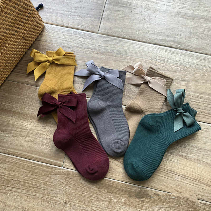 Cotton Kids Girl Socks Solid Colour Cute Bow Baby Girls Socks Casual Princess Children Socks Kids Socks Clothes