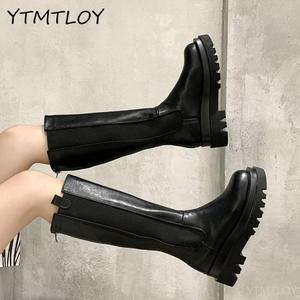 Knee High Boots Women Shoes Natural Genuine Leather Platform Riding Boots Zipper Ladies Long Boots Autumn Black 40