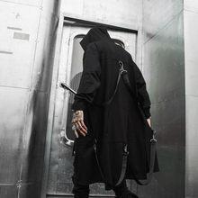 Trench-coat long à capuche pour homme, avec rubans, patchwork, punk, hip-hop, cape noire, fermeture éclair, techwear, pardessus, collection printemps-automne
