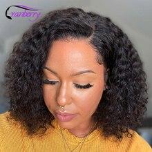 Krótkie kręcone Bob peruki koronki przodu włosów ludzkich peruk dla kobiet wstępnie oskubane Hairline żurawina Remy brazylijski 4x4 zamknięcie koronki peruka
