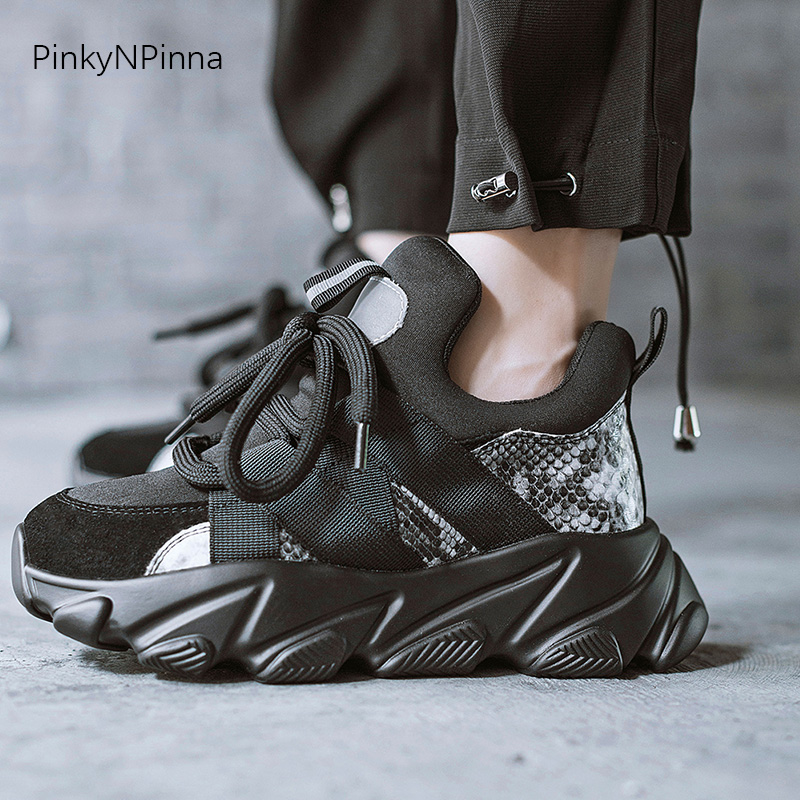 Dark Gothic Style Young Women Black Sneakers Super Thick Bottom Cow Suede Leather Mesh Python Skin Pattern School Casual Shoes