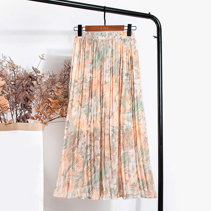 REALEFT New 2021 Vintage Floral Printed Tulle Pleated Mi-long Women Skirts High Waist Loose Female Umbrella Skirts Spring Summer 5