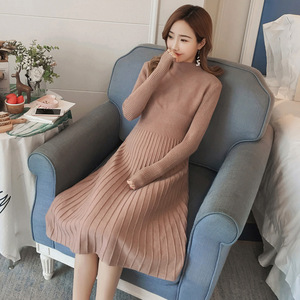 Image 3 - Autumn winter maternity sweater dress elastic slimming knitted pregnancy clothes pregnant dresses for women winter warm long