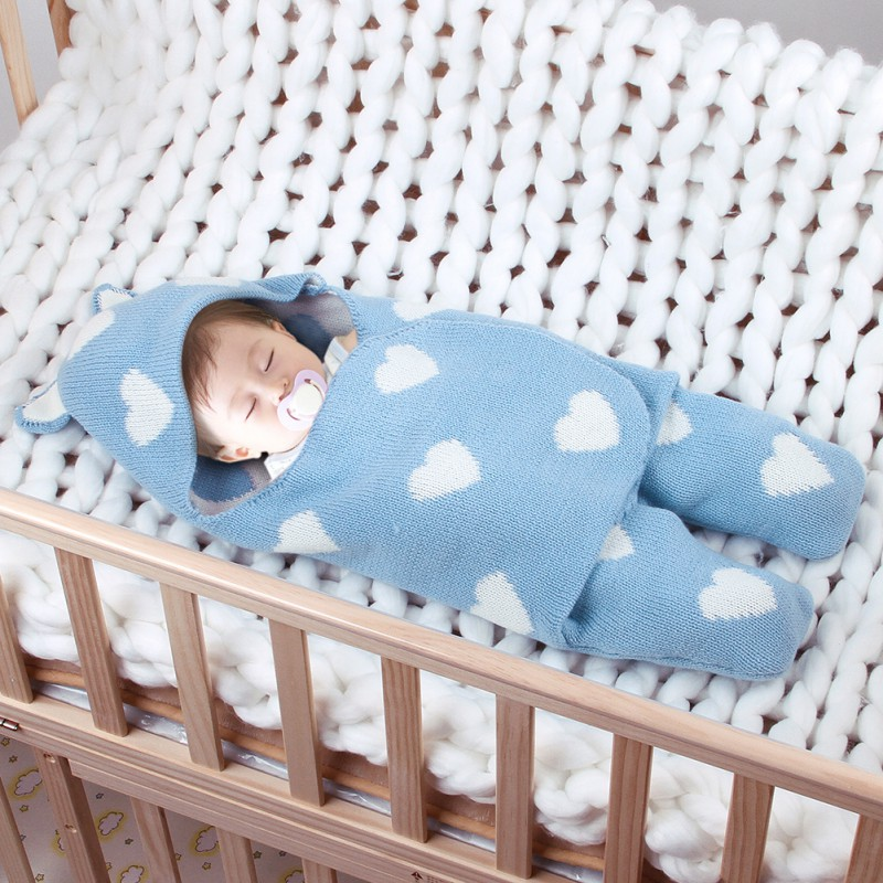 Autumn Winter Children Warm Hooded Sleep Bag Baby Heart Swaddle Blanket Quilt Perfect Kids Shower Gift Cotton Swaddles