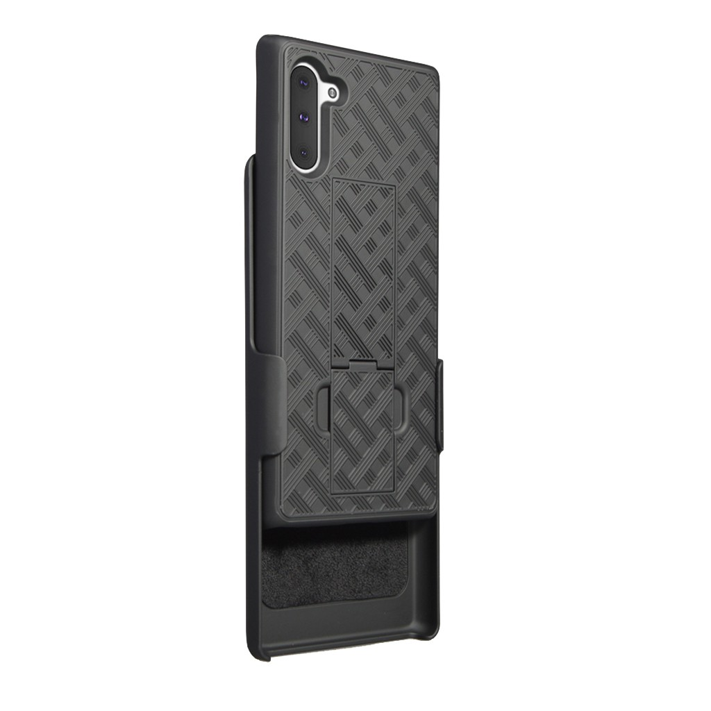 Fashion Phone Case For Samsung Galaxy Note 10+/Plus Black Slim PC Hard Shell Case Belt Clip HolsterPingyou