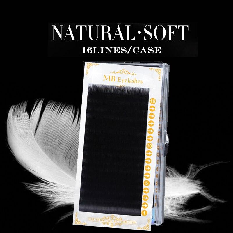 MB 16 Rows Mink Eyelashes Curling Individual 100% Lashe Maquiagem Cilios Fake Eyelashe Soft 3D False Eyelash Extension Faux Cils