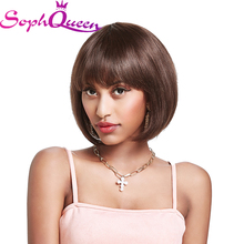 Soph Queen #4 Short Bob Wig With Bangs Non-Remy Human Hair