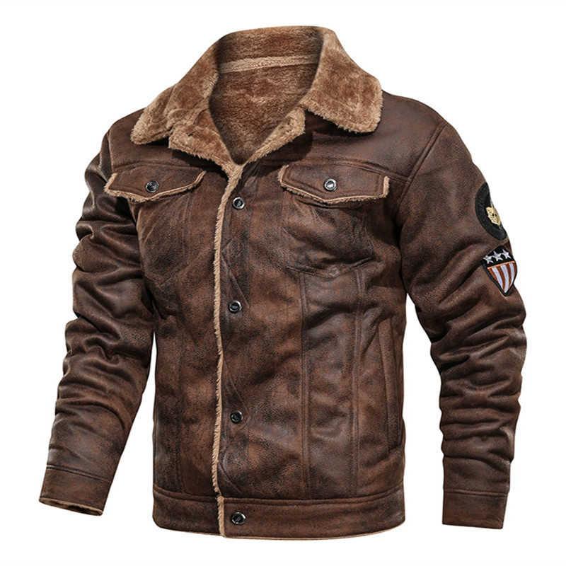 Air force vlucht jas bontkraag echt schapenleer jas mens black schapenvacht jas winter bomber jas mannetjes motorfiets