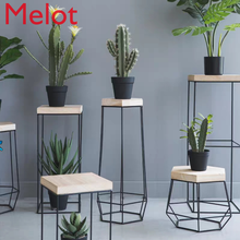 Iron Wood Flower Metal Stand Scindapsus Balcony Office Decor Plant Shelf Wood Plant Stand Nordic Geometric Indoor Flower Stand