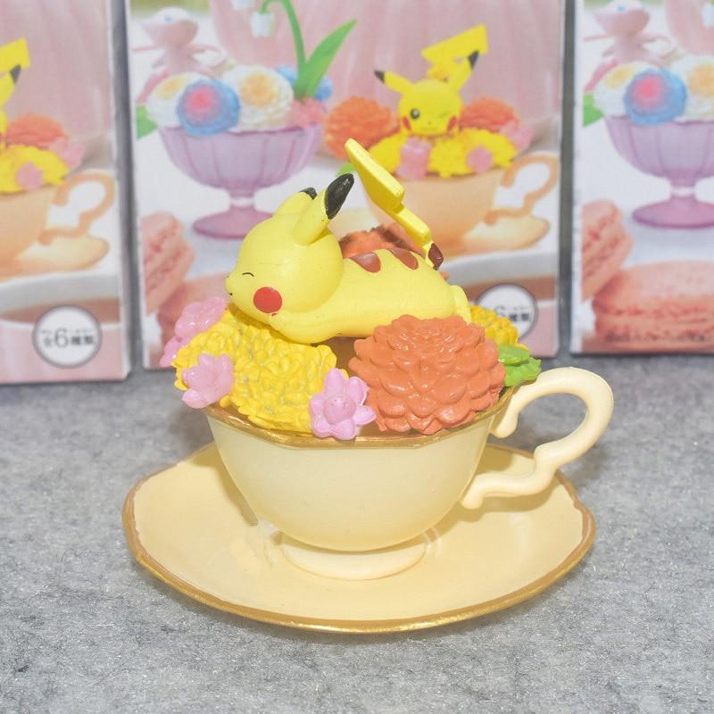 Takara  Anime 6Pcs/Set POKEMON Pikachu Cute Charizard Bulbasaur Snorlax Eevee Action Figure Toys for Children
