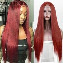 Parrucca sintetica per capelli lunghi in pizzo rosso dritto AISI queen parrucche sintetiche per donna nero bianco biondo Cosplay capelli parte centrale