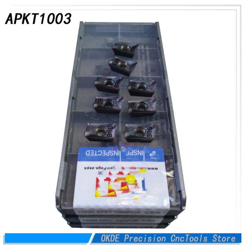 Купить с кэшбэком 30pcs APKT1003 PDR Carbide Milling cutters APKT 1003PDR IC908 Insert face mill