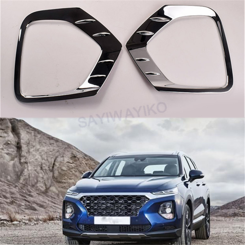 For <font><b>Hyundai</b></font> Santafe <font><b>Santa</b></font> <font><b>fe</b></font> <font><b>2019</b></font> ABS Chrome Front Rear Foglight Fog Light Lamp Cover Trim Frame Sticker Exterior Accessories image