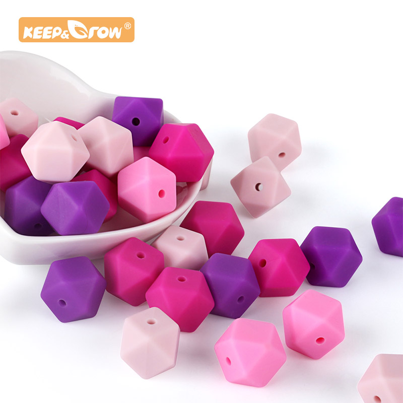 10pcs Hexagon Beads Silicone Baby Teether Chewing Silicone Baby Teething Nursing Necklace Pacifier Chain Food Grade Toys