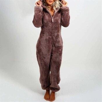 Women Casual Hooded Warm Plush Bodysuit Winter Zipper Playsuits Homewear Sleepwear Women's Pajamas Long Sleeve jumpsuit trousers 1
