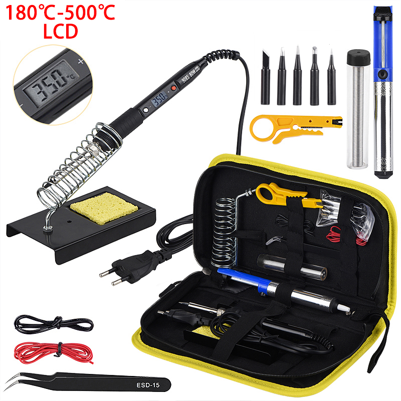 JCD LCD Soldering Iron Kits 80W Adjustable Temperature Welding Machine Solder Iron Tool Kit Soldering Tips Desoldering Pump 908S