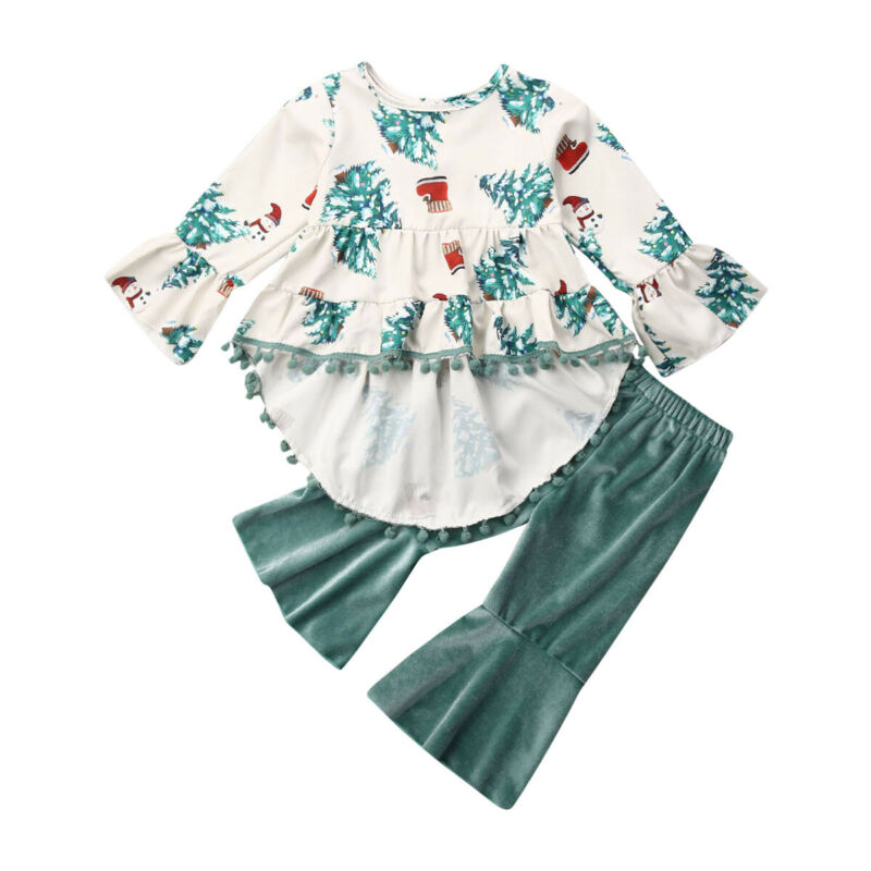 Toddler Kids Baby Girls Floral Tops Blouse Pants Leggings Outfits Set Clothes US