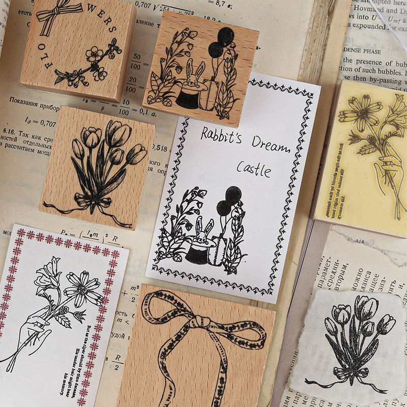 Yoofun 10Designs Vintage Flower Bowknot Wooden Rubber Stamps for Scrapbooking Decoration DIY Craft S