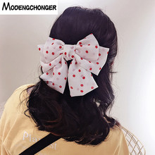 High Quality Big Large Barrette Three Levels Chiffon Hair Bow Wave Point Clips For Women Girls Hairgrips Accessories