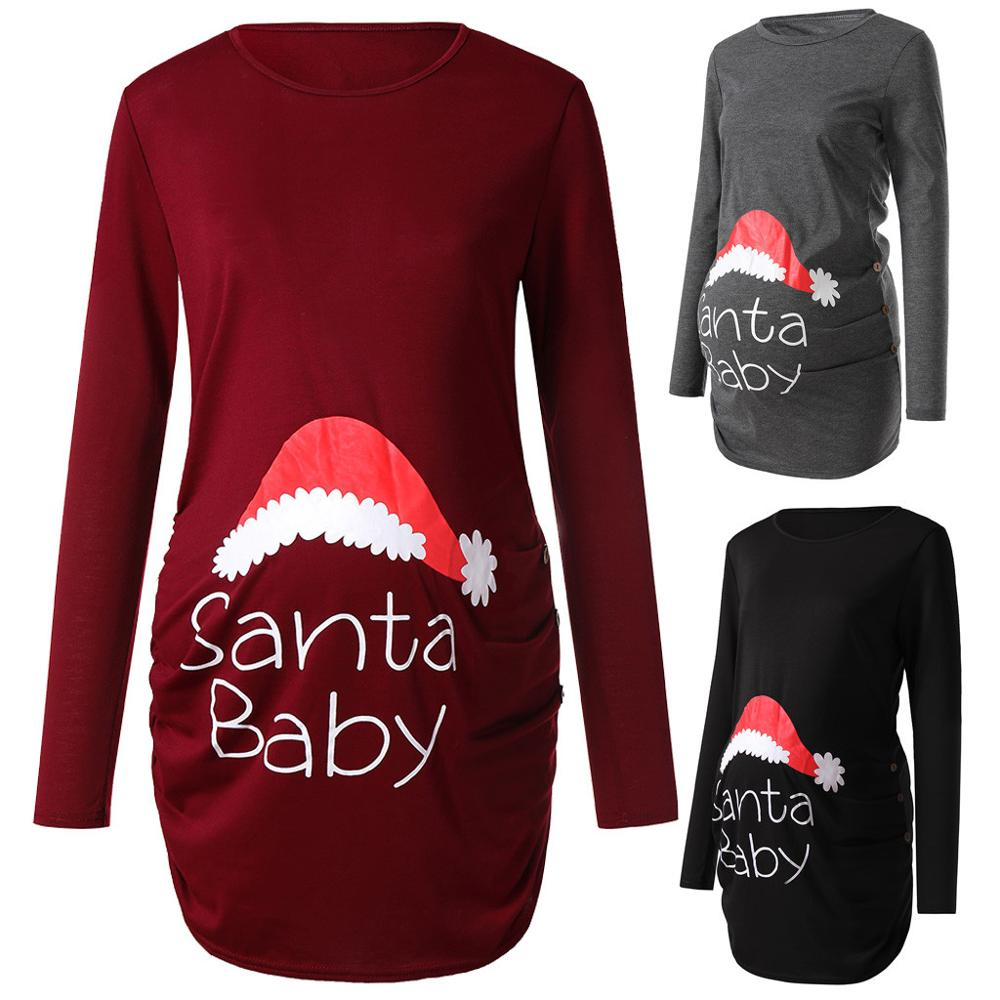 Pregnant Woman Christmas Long Sleeve Women's Print Christmas Side Ruched Maternity Top Pregnancy Out Clothes Pregnant T Shirts