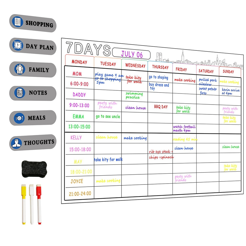 Kids Magnetic Dry Erase Planner Board For Refrigerator A3 Magnetic Whiteboard Family Organize To Do List Toy Gifts