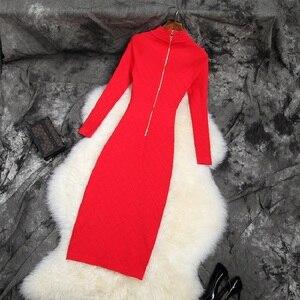 Image 2 - 2019 NIEUWE Elastische Slanke Potlood jurk trui Beroemdheden Club jurken breien herfst volledige mouw werk Vrouwen Winter Party Dress