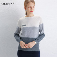 Lafarvie O-neck Knitted Wool Sweater Women Tops Full Sleeve Patchwork With Pockets Pullover Female Autumn Winter Jumper Pull