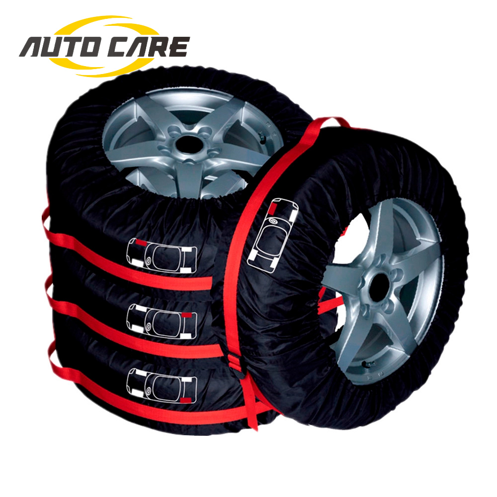 4Pcs Car Spare Tyre Cover Garage Tire Case Auto Vehicle Automobile Tire Accessories Summer Winter Protector Tire Storage Bag