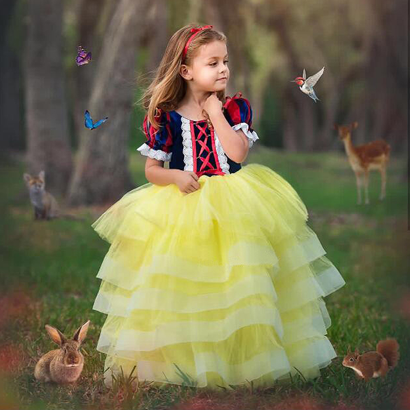 Girl Snow White Princess Dress Carnival Costume Children Evening Dresses Cosplay Costumes Kids Halloween Tulle Tutu Gown Clothes