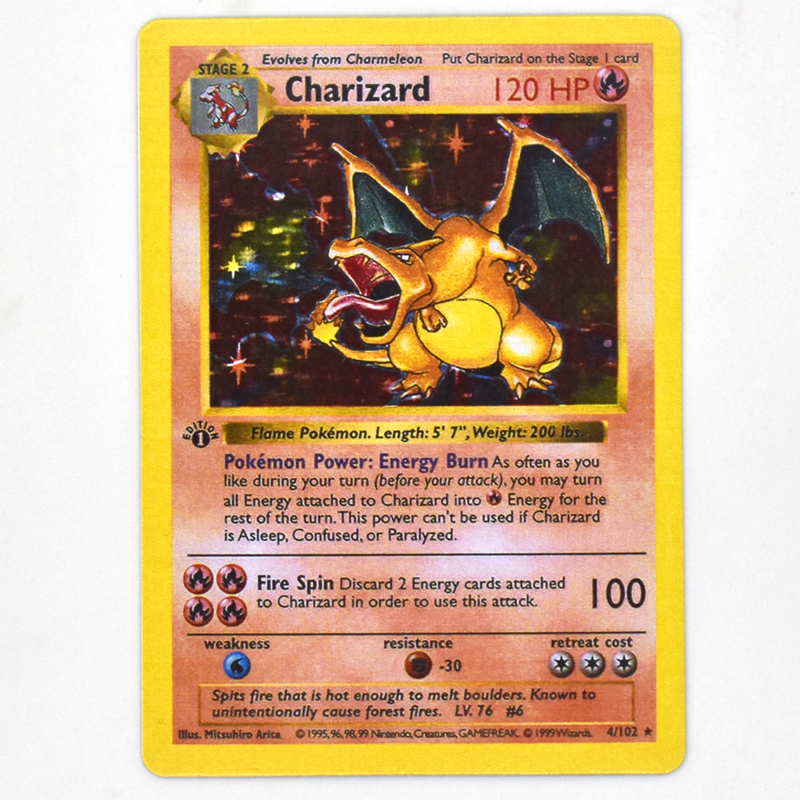 10/set 1996 First Generation Pokemons Cards Anime TCG Charizard Battle Toys Hobbies Hobby Collectibles GameCollection Kids Gift