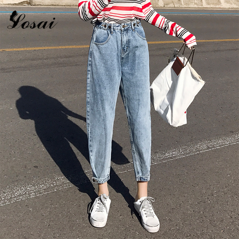 Plus Size Women High Waist Boyfriend Jeans For Women Mom Jeans Dropshipping 2019 New Cotton Blue Denim Pants Harem Pants