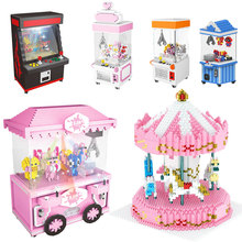 ZRK Playground Clip Doll Catcher Game Machine Birthady Cake Super Mario Ship DIY Diamond Mini Building Small Blocks Toy no Box