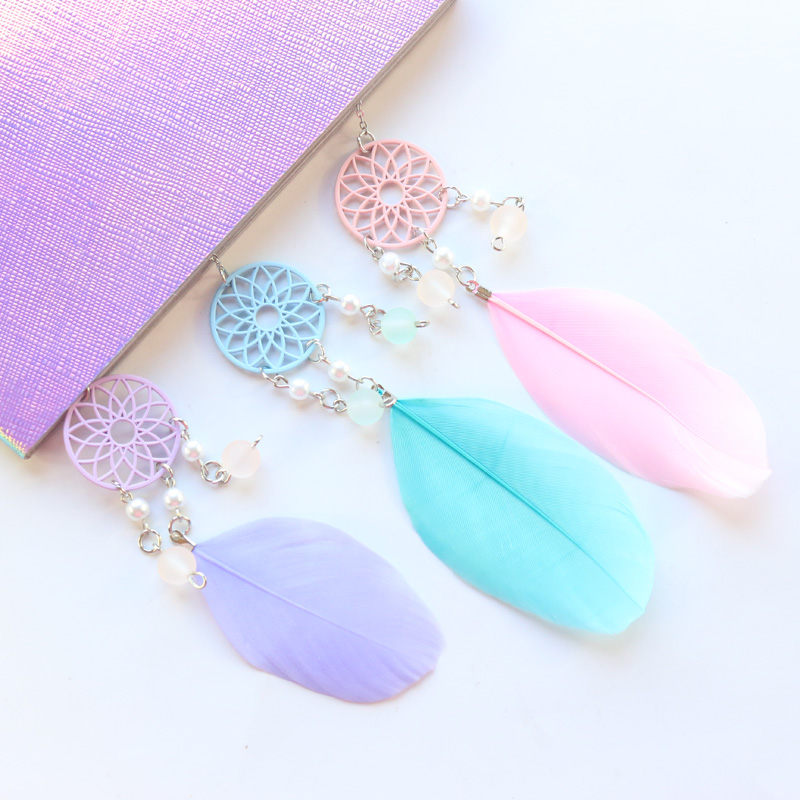 Domikee Cute Kawaii Dreamcatcher School Student Metal Bookmarks For Books Candy Notebook Index Divider Accessories Stationery