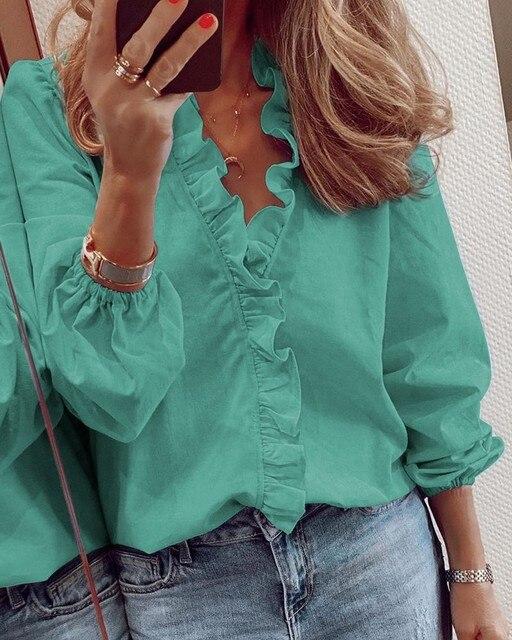женская блузка с оборками топы буквенным принтом ананаса v образный фотография