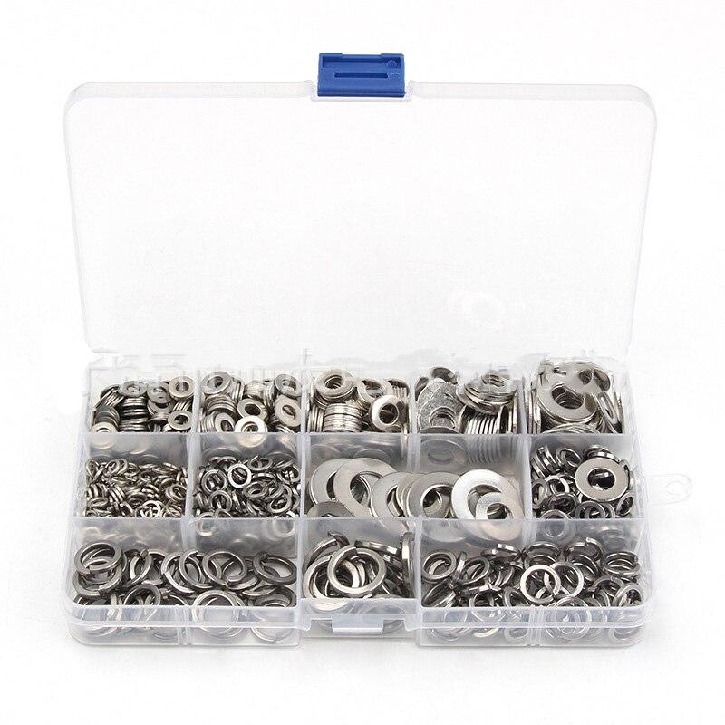 800Pcs//set Washers Stainless Steel Assortment Set Flat /& Spring Type Kit M4-M12