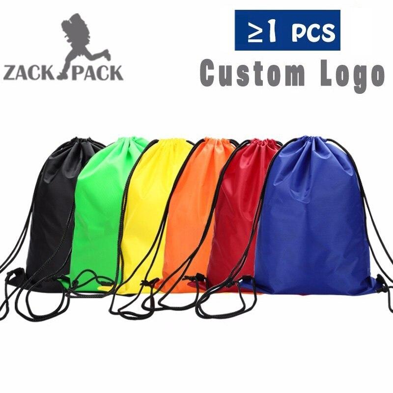 Zackpack bolsa de cordón deportes mochila impermeable Paquete de bolsillo Logotipo de impresión personalizada para hombres mujeres estudiantes