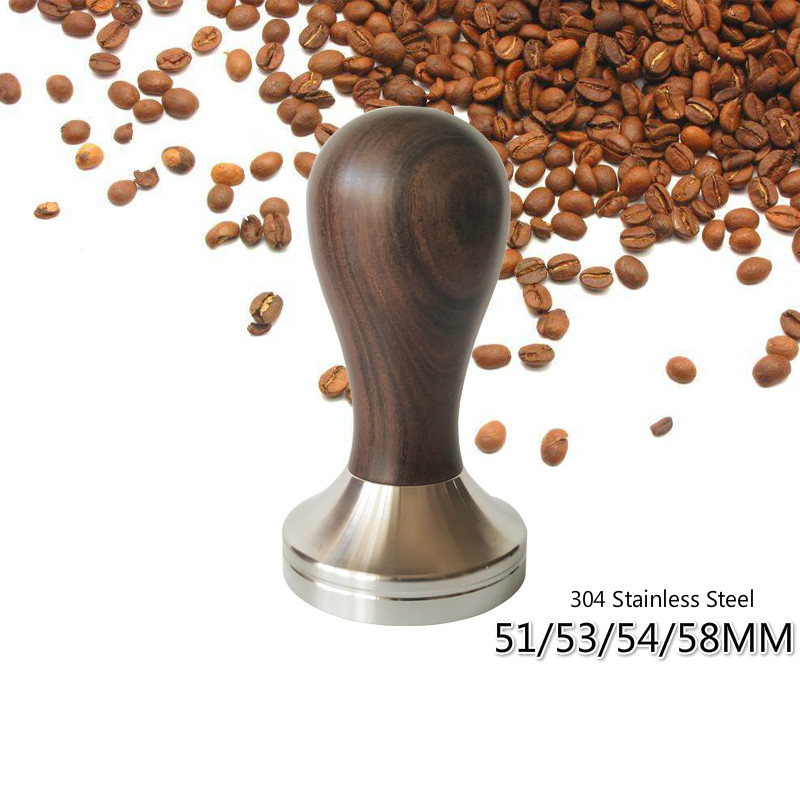 51/53/54/58mm 304 Stainless Steel Base Wooden Handle Tamper Coffee Powder Hammer Coffee Accessories