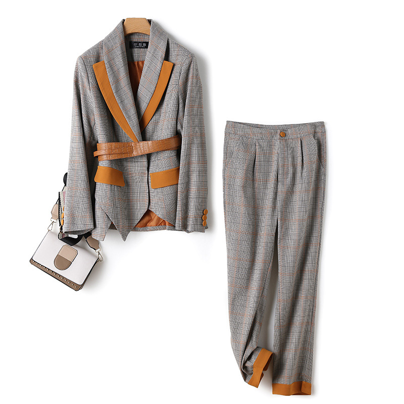 2019 New Fashion Slim Women's Suit Two-piece Temperament Plus Size Winter Plaid Blazer Casual Pants Suit Business Set