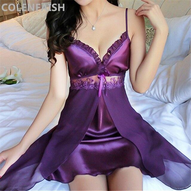 Deep V Neck Women Satin Nightgown Sexy Lace Sleepwear Strap Spaghetti Ladies Silk Nightwear Sleep Wear Night Gown Lingerie Dress 1