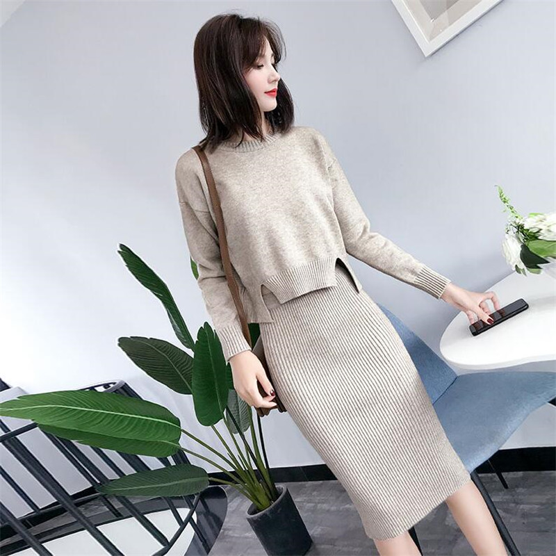 2019 Autumn And Winter New Knit Suit Female Solid Color Long-sleeved Fashion Sweater With Skirt Two-piece