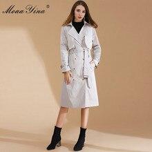 MoaaYina Fashion Designer Windbreaker Overcoat Autumn winter Women Long sleeve Double-breasted Lace-Up