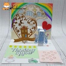 Kokorosa Cutting Dies Metal Heart House Die Scrapbooking Album Card Making Embossing Stencil Diecuts Decoration