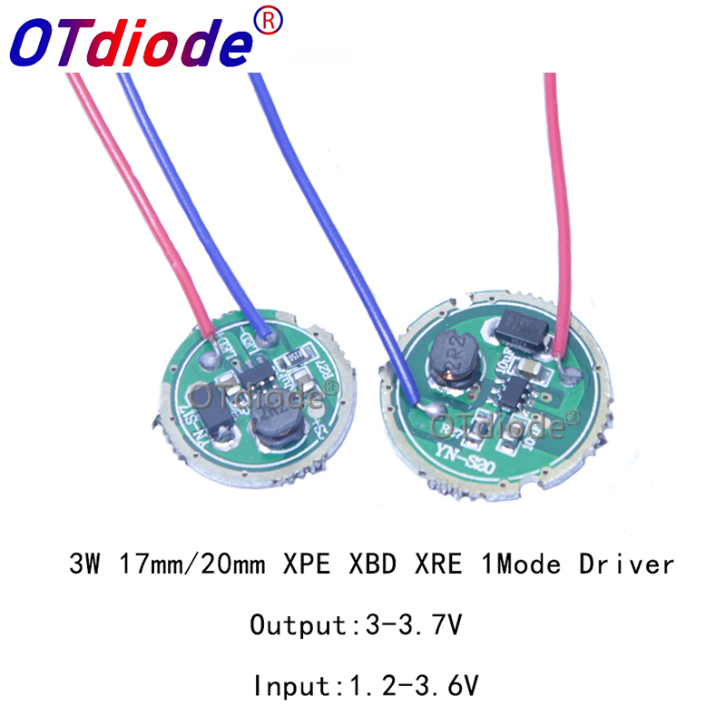 1PCS 3W LED Driver 16/20mm DC3.7V 1 Mode LED Flashlight Driver For CREE XRE-Q5/XPE XP-E /XBD XB-D All Kind Of 3W LED Light Lamp