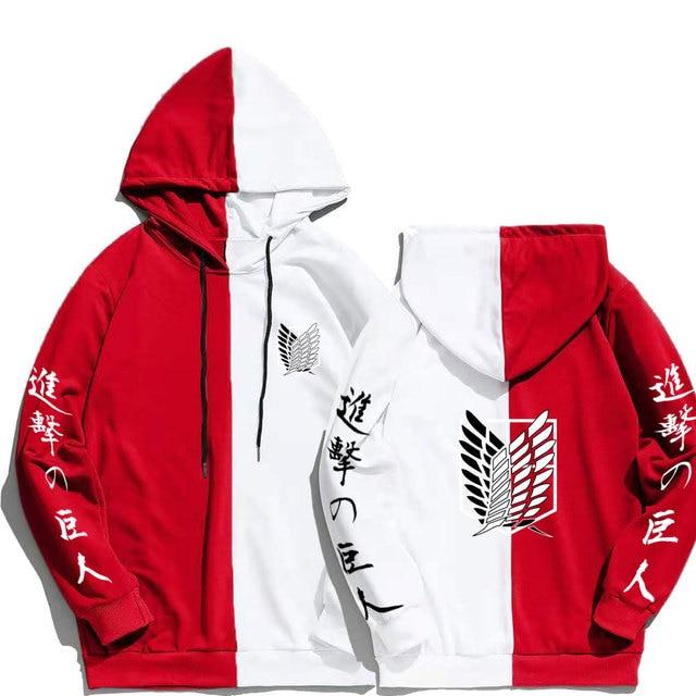 Japan Anime Attack on Titan Print Men Hoodies Sweatshirts Hoodie Patchwork Thin Clothing Hip Hop Streetwear Tops 2