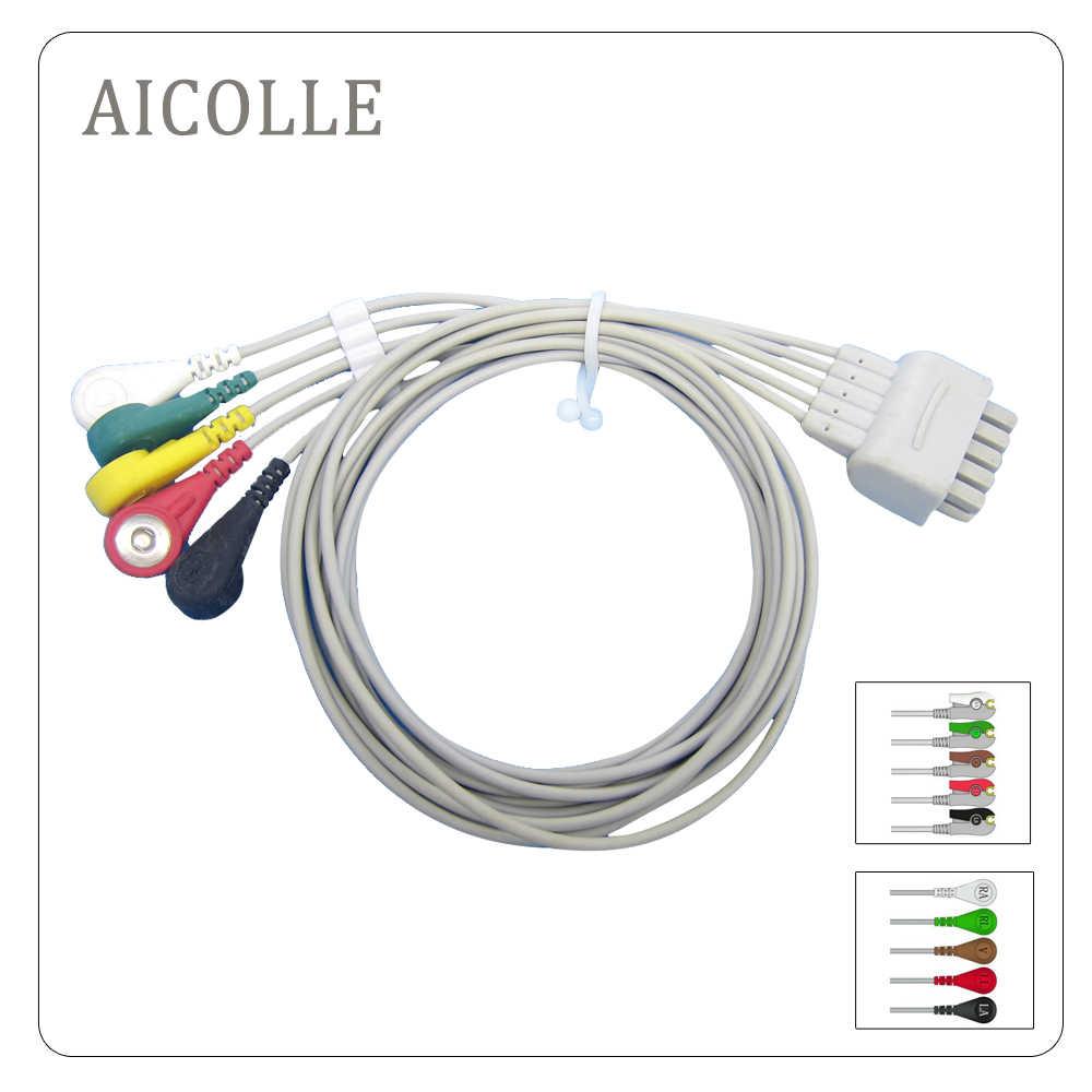 GE Compatible Dash PRO 4000 monitor paciente ecg cable 5 leawire snap clip terminal