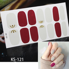 14tips/set Full Cover Nail Stickers Wraps Decoration DIY for Beauty Nail Art Decals Plain Stickers Self Adhesive Nail Stickers(China)