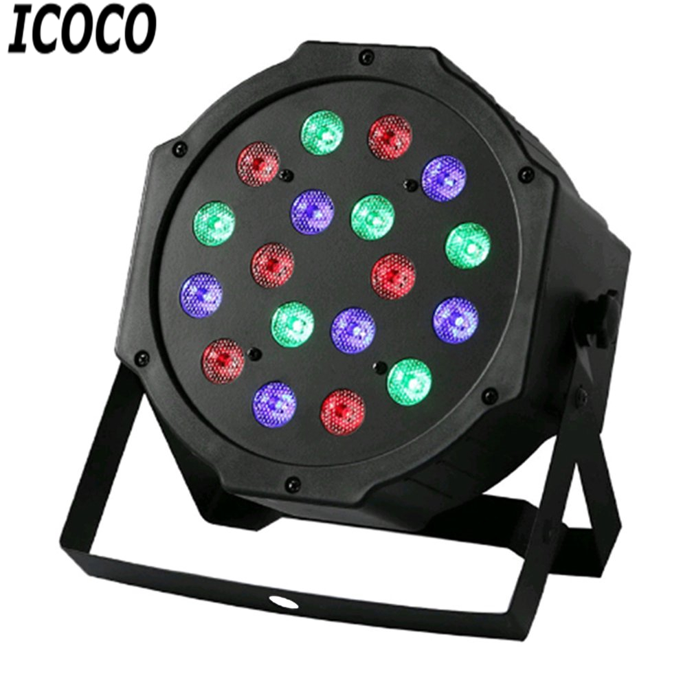ICOCO Professional LED Stage Lights 18 LED RGB PAR DMX Stage Lighting Effect DMX512 Master-Slave Flat For DJ Disco Party KTV New