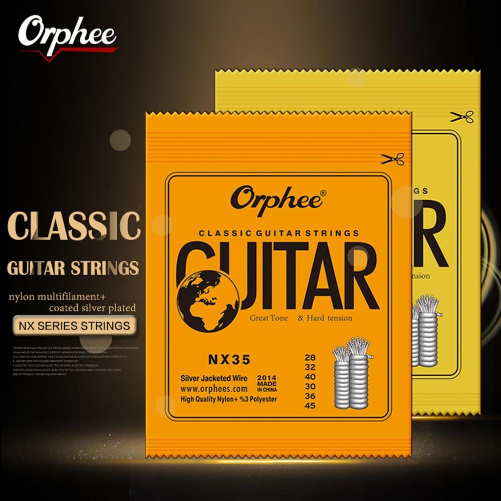 Orphee 6 шт./компл., классические нейлоновые гитарные струны с посеребренным проводом, твердая/нормальная натяжение, оригинальная Розничная по...