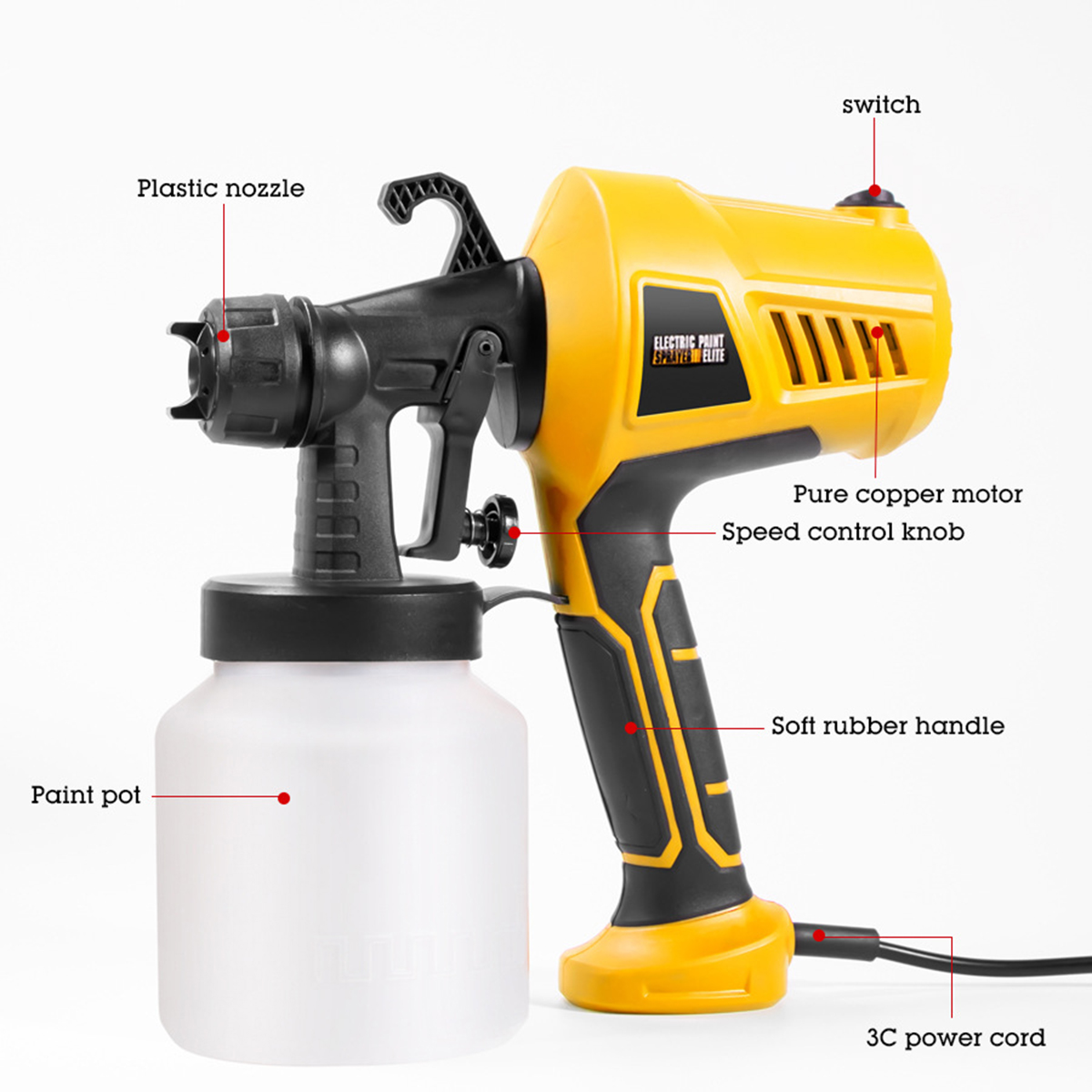 For High 28000rpm 400W 110V Sprayer Nozzle Electric Spraying 220V Beginner Gun Home Clean Spray Perfect Power Easy And 3 Paint
