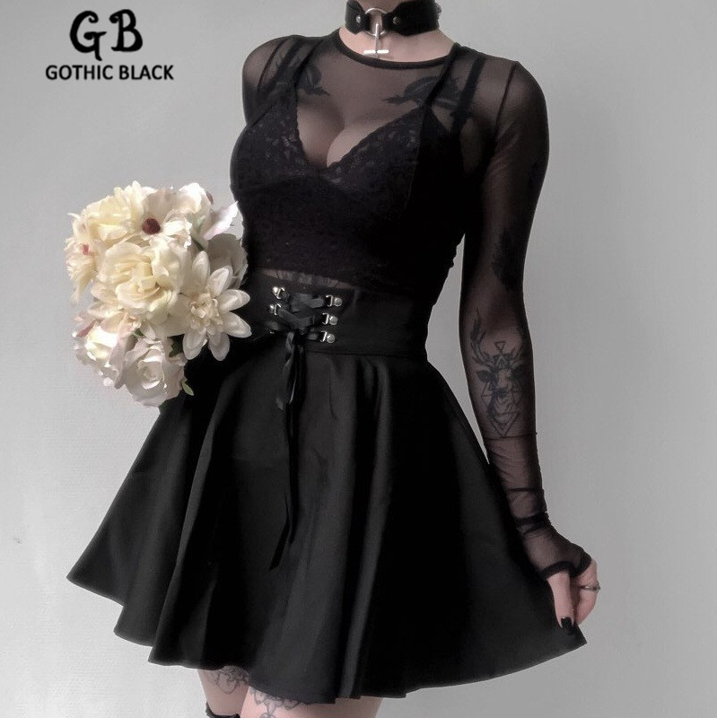 Gothic Black Female Streetwear Back Zipper Metal Buckle Lace Up Mini Pleated Skirt Goth Vintage Women High Waist Party Skirts